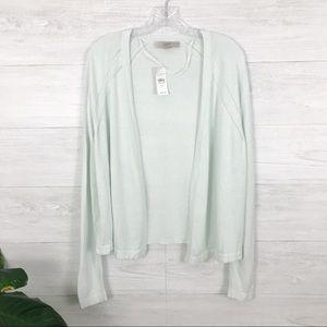NWT LOFT Light Mint Green Open Front Cardigan XL